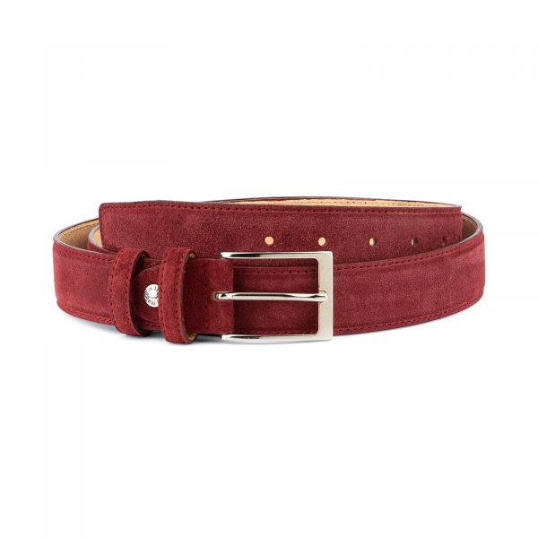 Burgundy Belt Mens Genuine Suede Capo Pelle