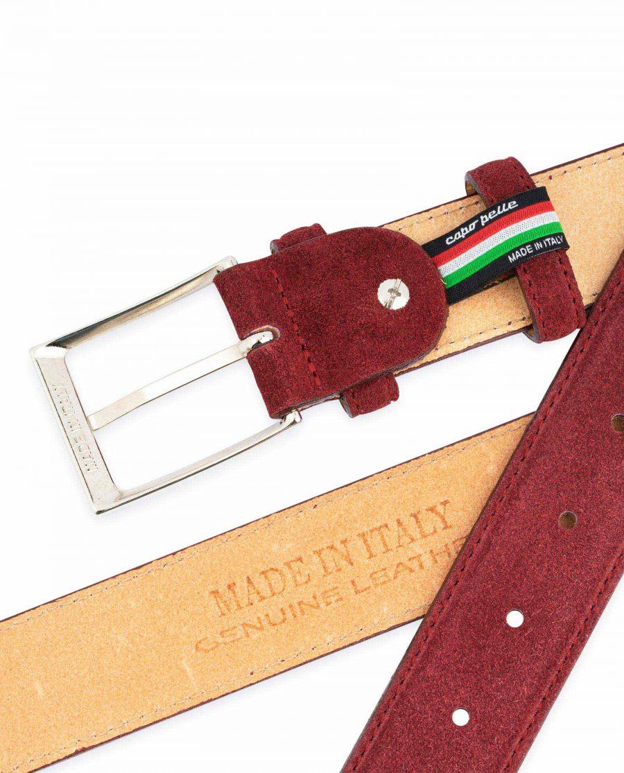 Burgundy Belt Mens Genuine Suede Made in Italy