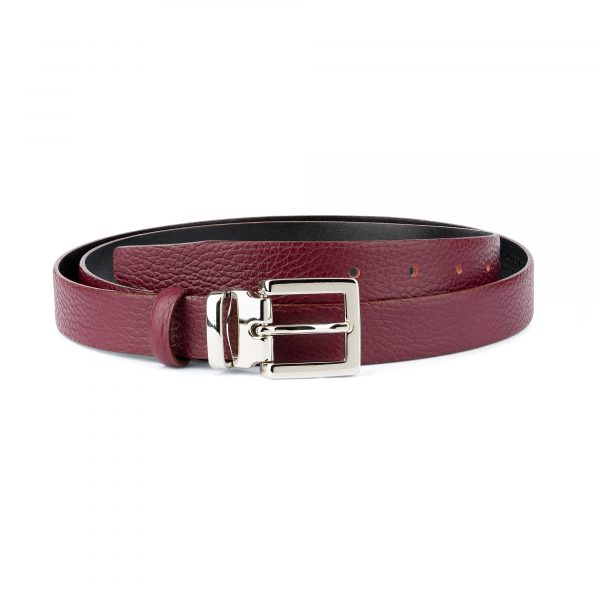 Burgundy Dress Belt Womens Square Buckle Capo Pelle