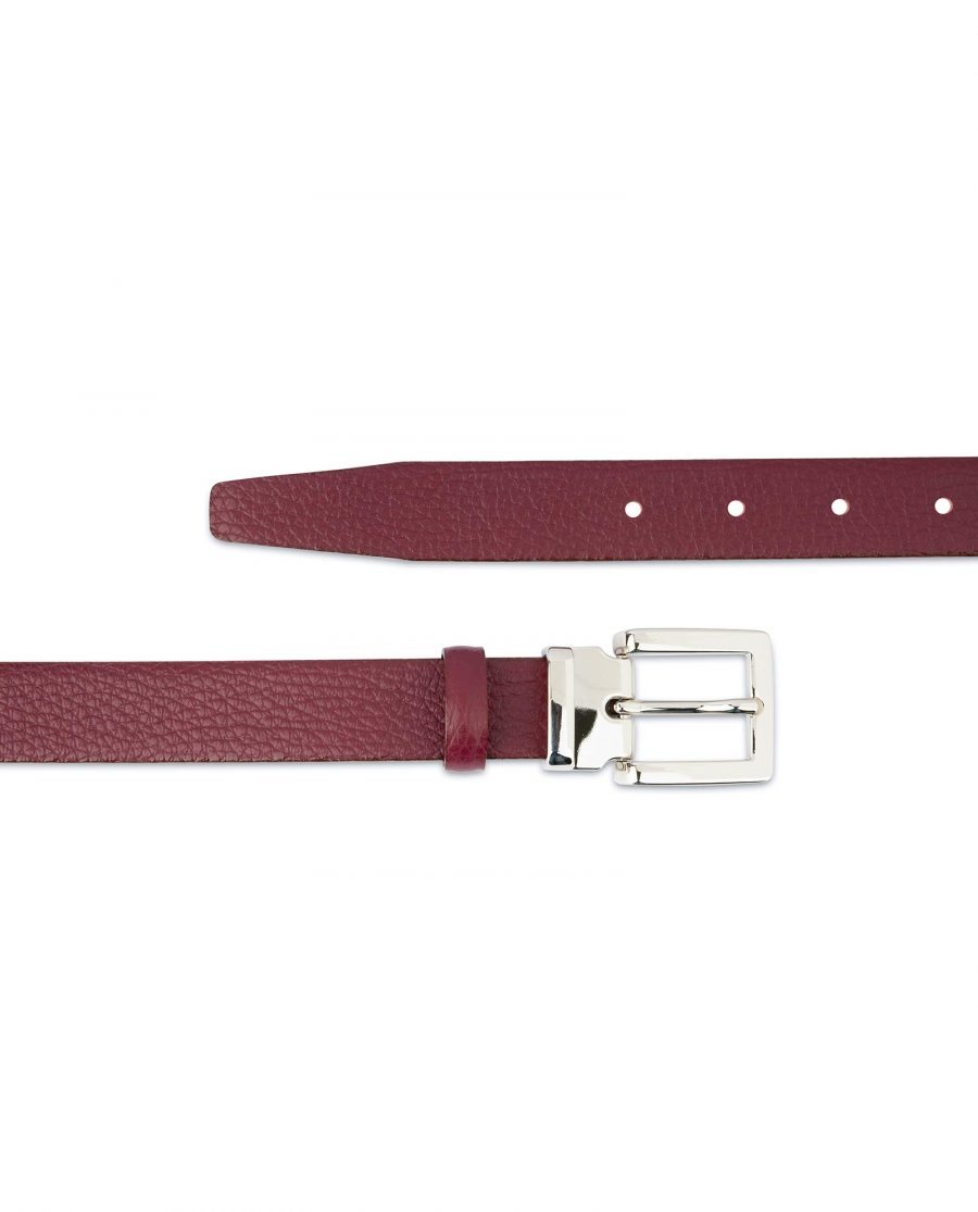Burgundy Dress Belt Womens Square Buckle Genuine leather