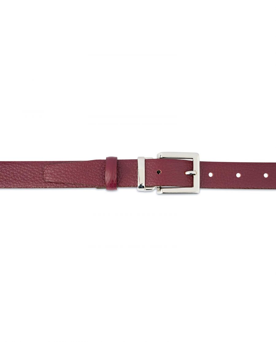 Burgundy Dress Belt Womens Square Buckle Italian