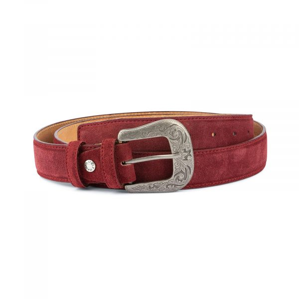 Burgundy Suede Western Belt For Men With Buckle Capo Pelle