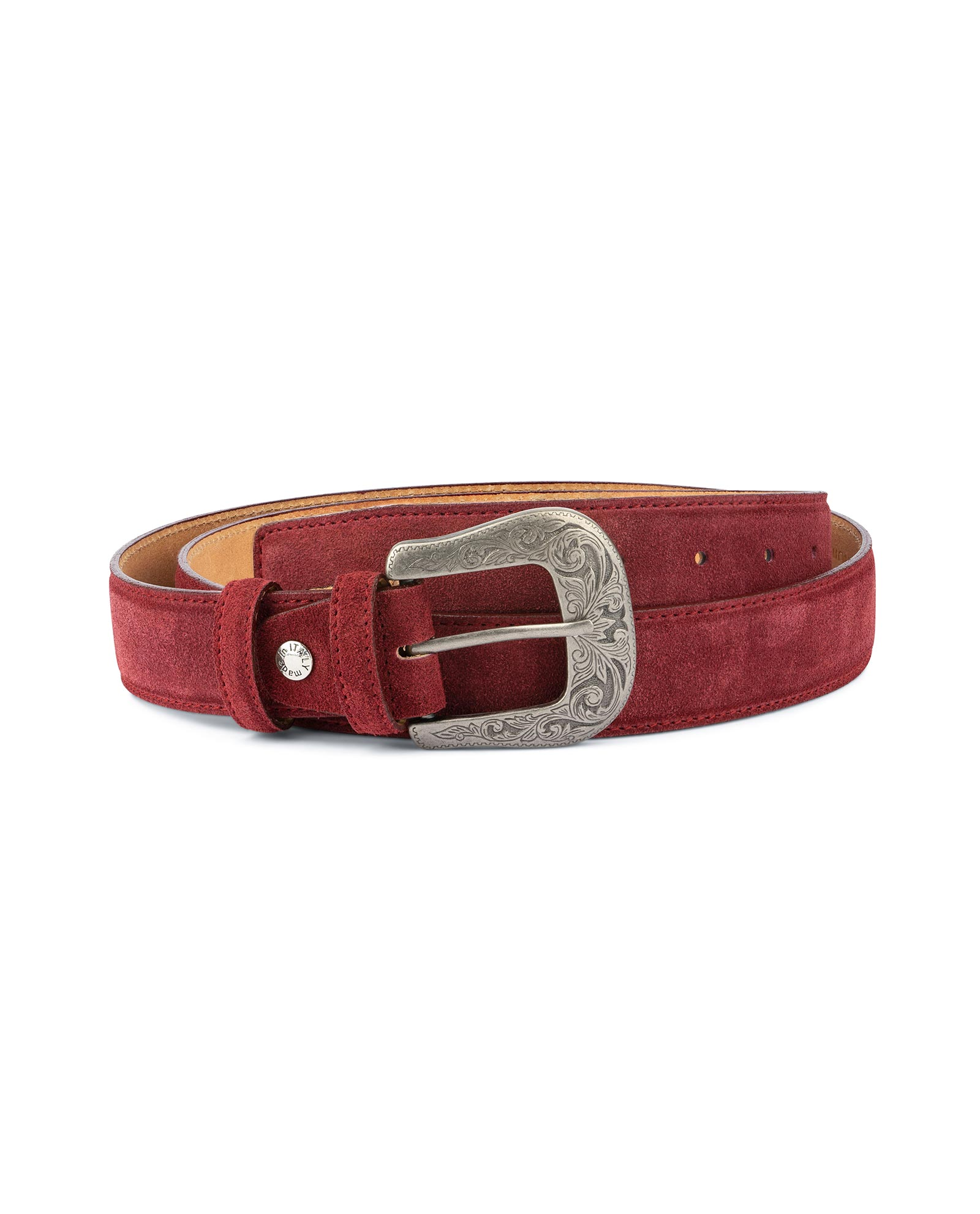 Details about Burgundy belt Mens western belts With buckle Genuine suede leather Cowboy Rancho