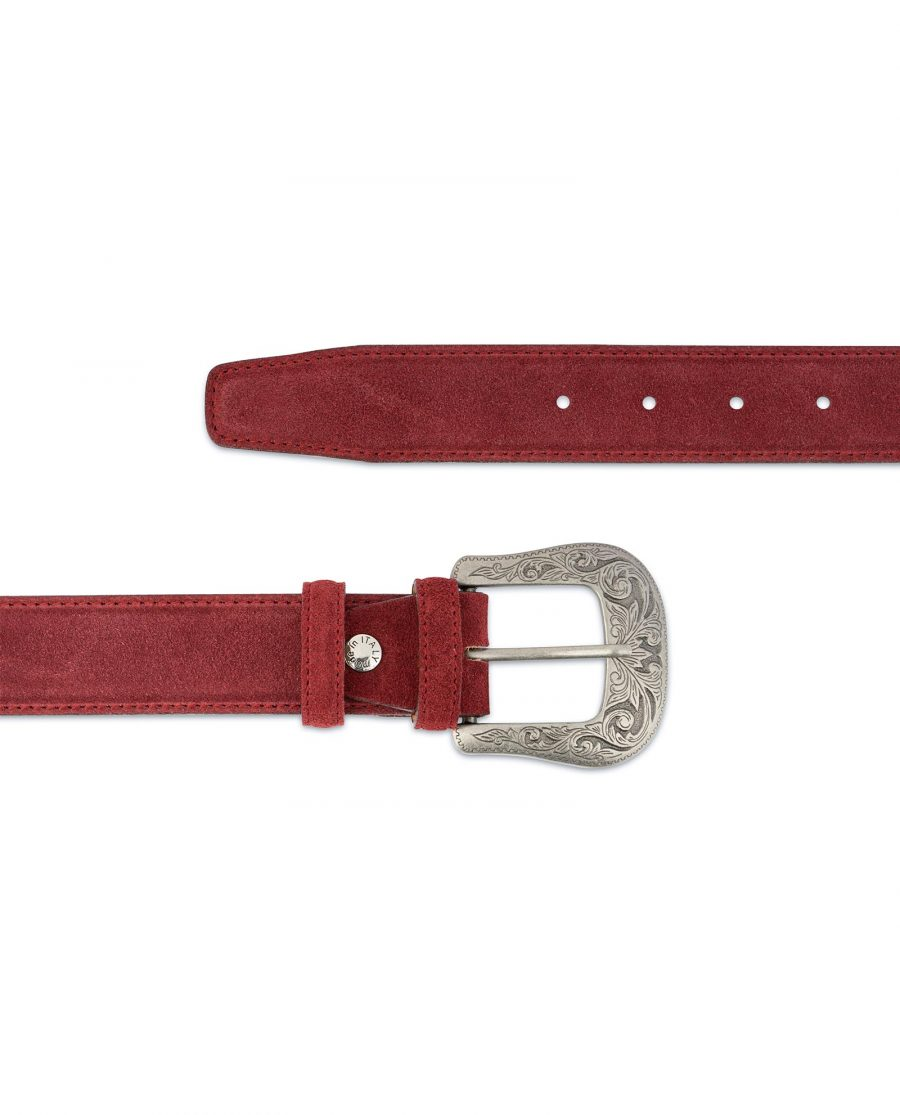 Burgundy Suede Western Belt For Men With Buckle For jeans