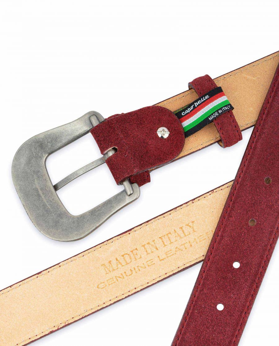 Burgundy Suede Western Belt For Men With Buckle Made in Italy