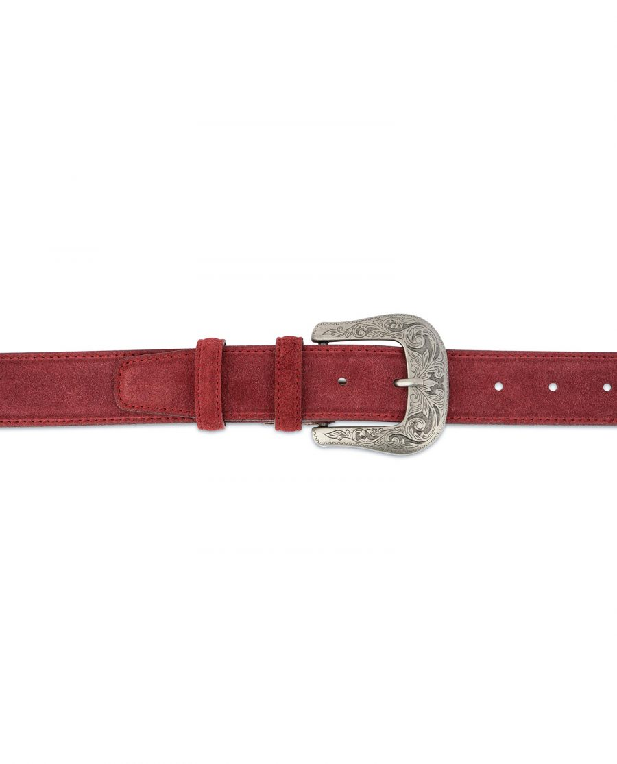 Burgundy Suede Western Belt For Men With Buckle On pants