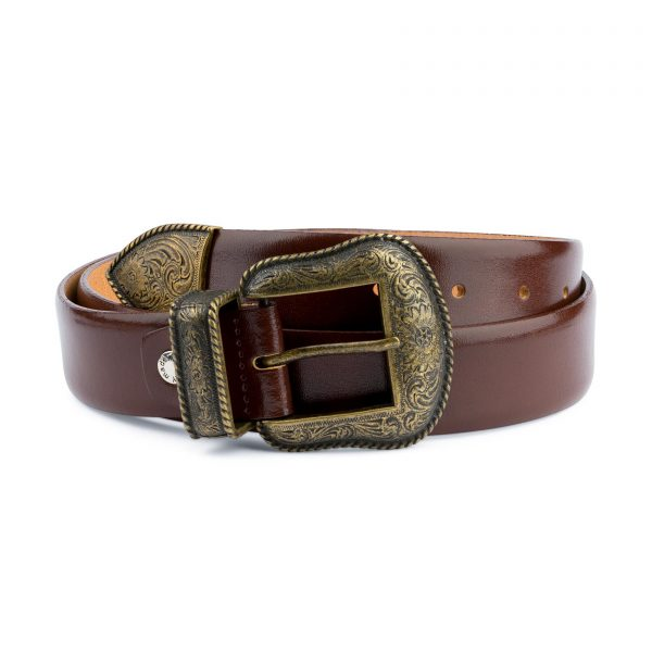 Cognac Leather Belt With Cowboy Bronze Buckle Capo Pelle