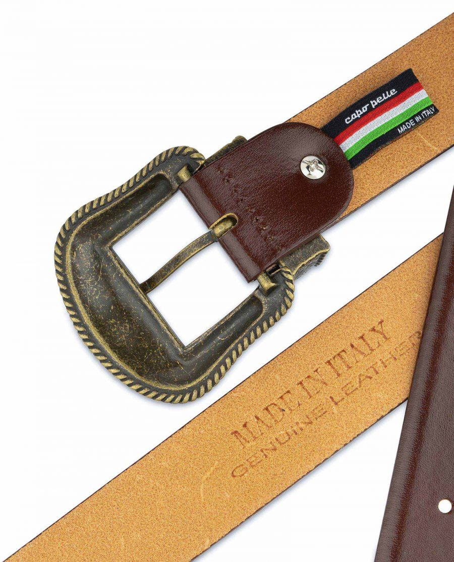 Cognac Leather Belt With Cowboy Bronze Buckle Made in Italy