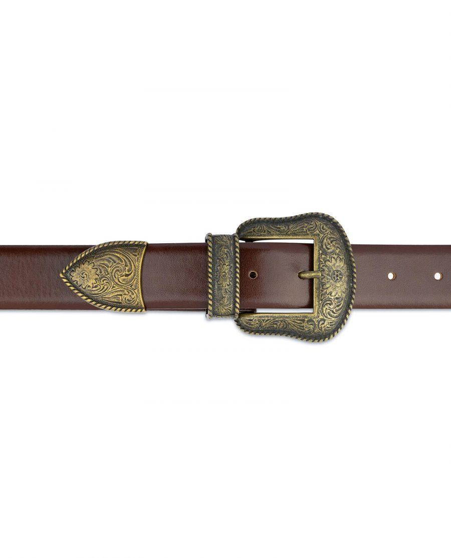 Cognac Leather Belt With Cowboy Bronze Buckle On jeans