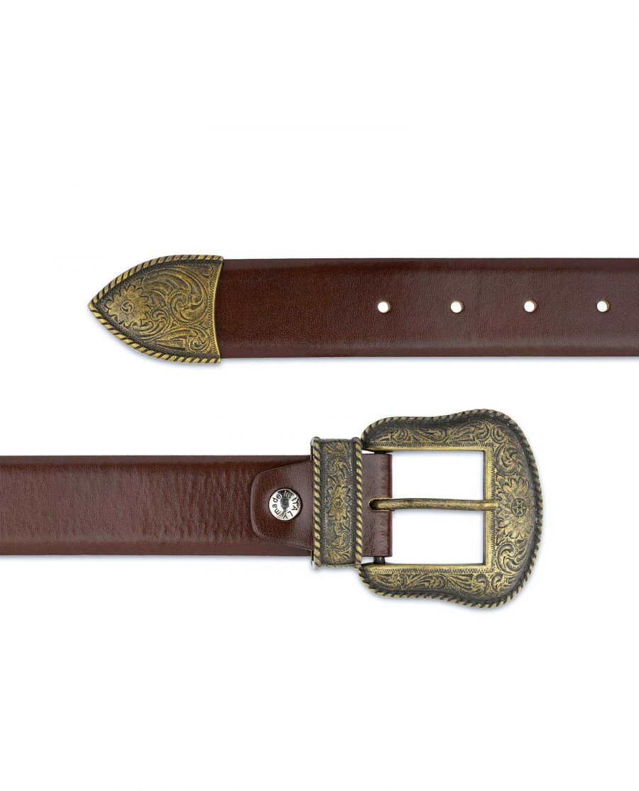 Cognac Leather Belt With Cowboy Bronze Buckle Western style