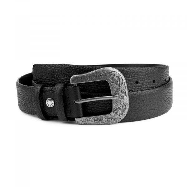 Cowboy Belt with Buckle Genuine Leather Capo Pelle