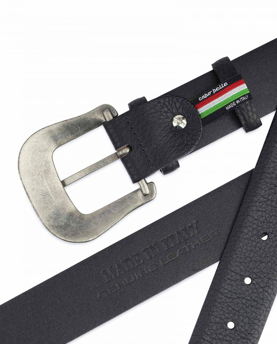 Cowboy Belt with Buckle Genuine Leather Made in Italy