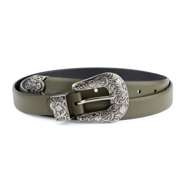 Cowgirl Belt With Buckle Olive Green Leather Capo Pelle