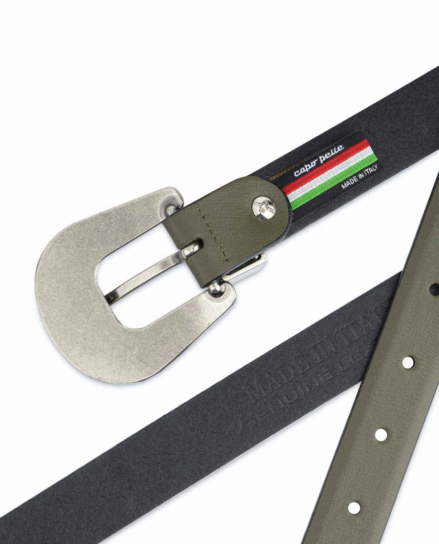 Cowgirl Belt With Buckle Olive Green Leather Made in Italy