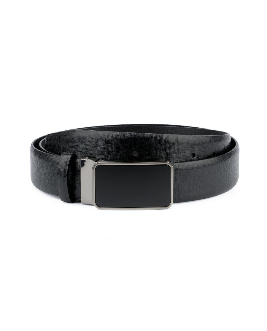 Mens Black Belt With Black Buckle Saffiano Leather Capo Pelle