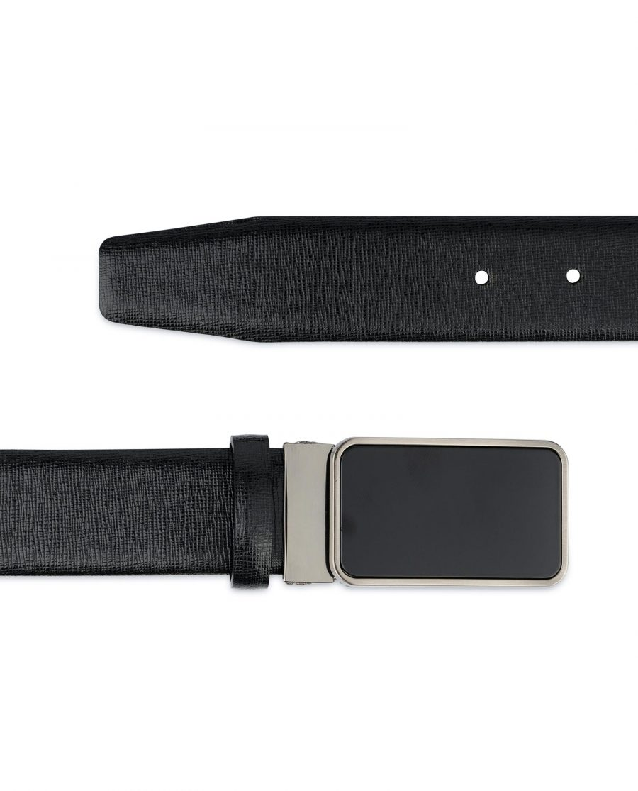 Mens Black Belt With Black Buckle Saffiano Leather Genuine
