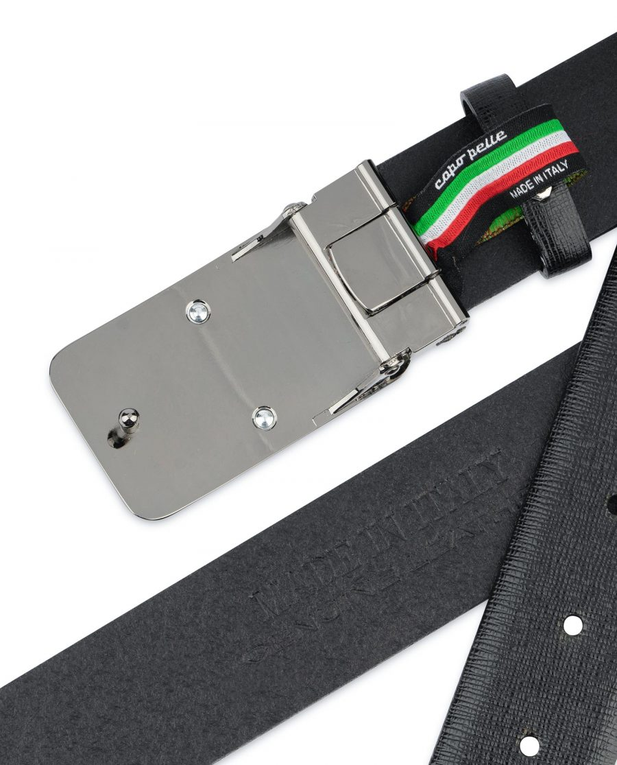 Mens Black Belt With Black Buckle Saffiano Leather Gunmetak gray