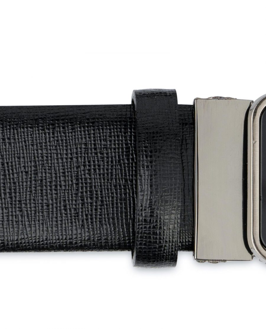 Mens Black Belt With Black Buckle Saffiano Leather Loop