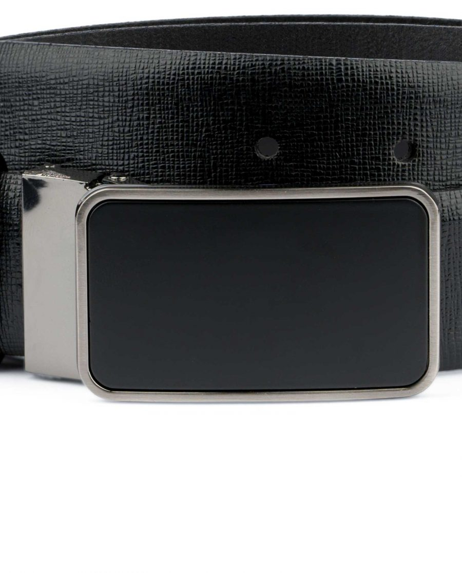 Mens Black Belt With Black Buckle Saffiano Leather Matte