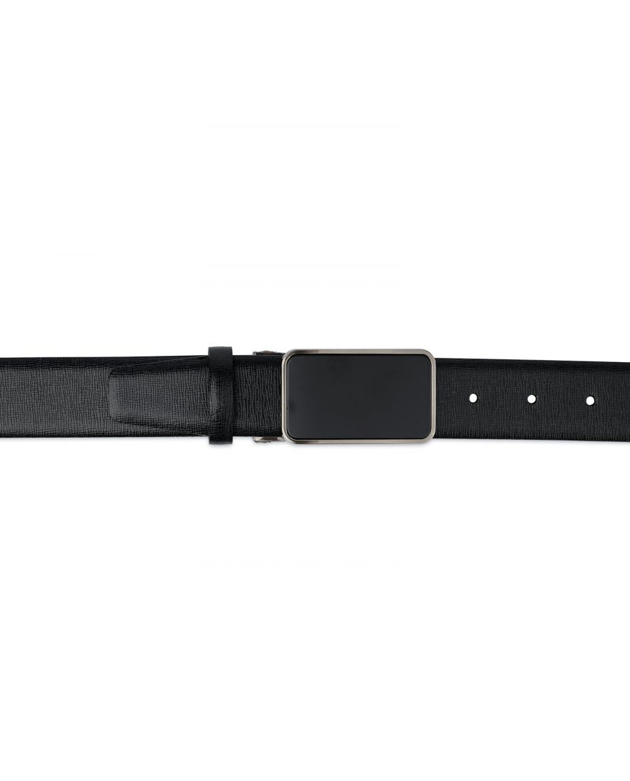 Mens Black Belt With Black Buckle Saffiano Leather On Pants