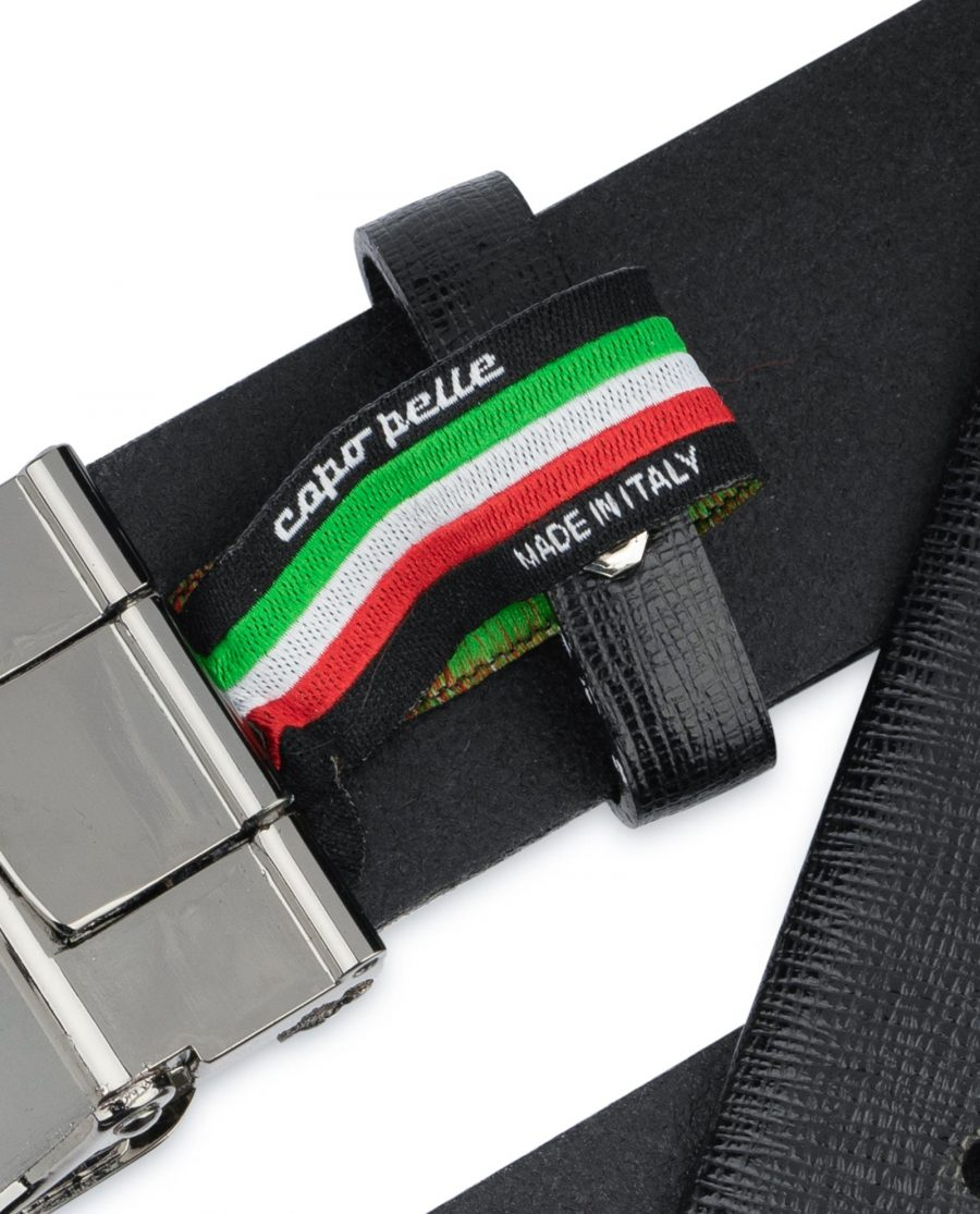 Mens Black Belt With Black Buckle Saffiano Leather Woven label