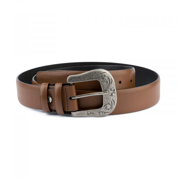 Mens Brown Western Belt With Buckle Capo Pelle
