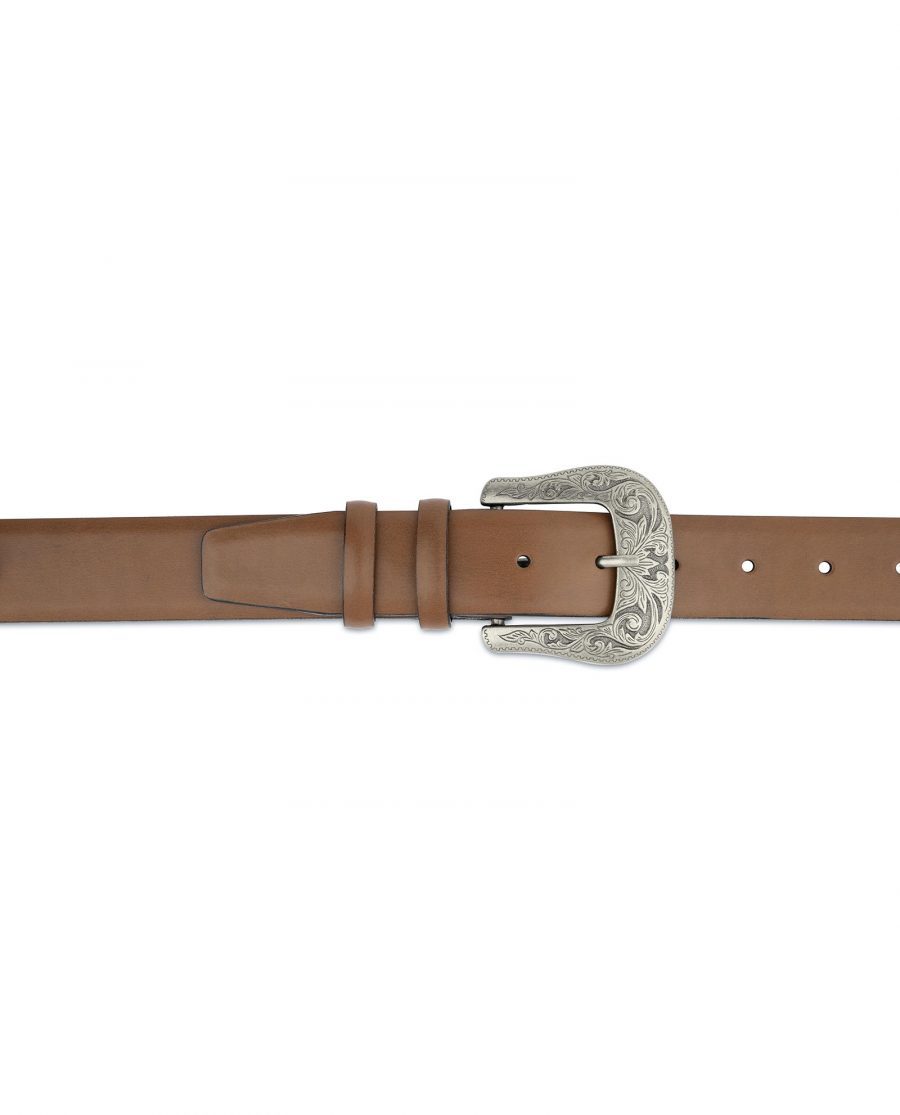 Mens Brown Western Belt With Buckle On Jeans