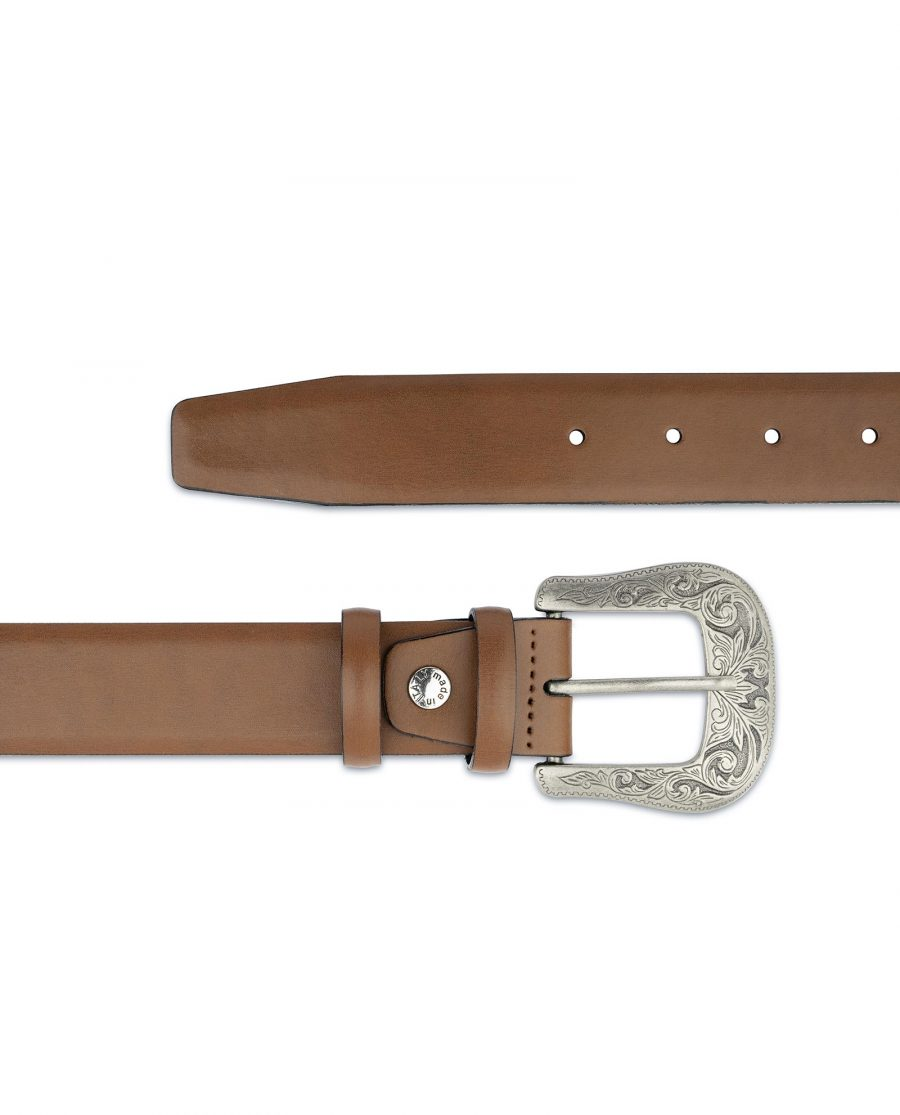 Mens Brown Western Belt With Buckle Silver Antique