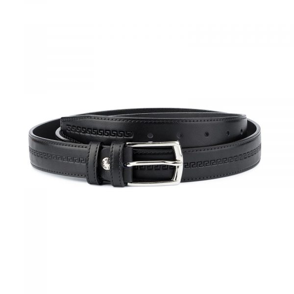 Mens Leather Belt Black Full Grain Capo Pelle