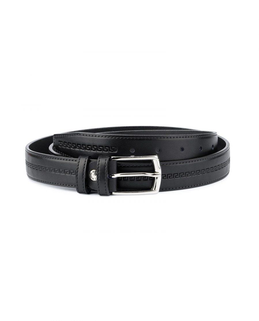 Mens Leather Belt Black Full Grain Capo Pelle