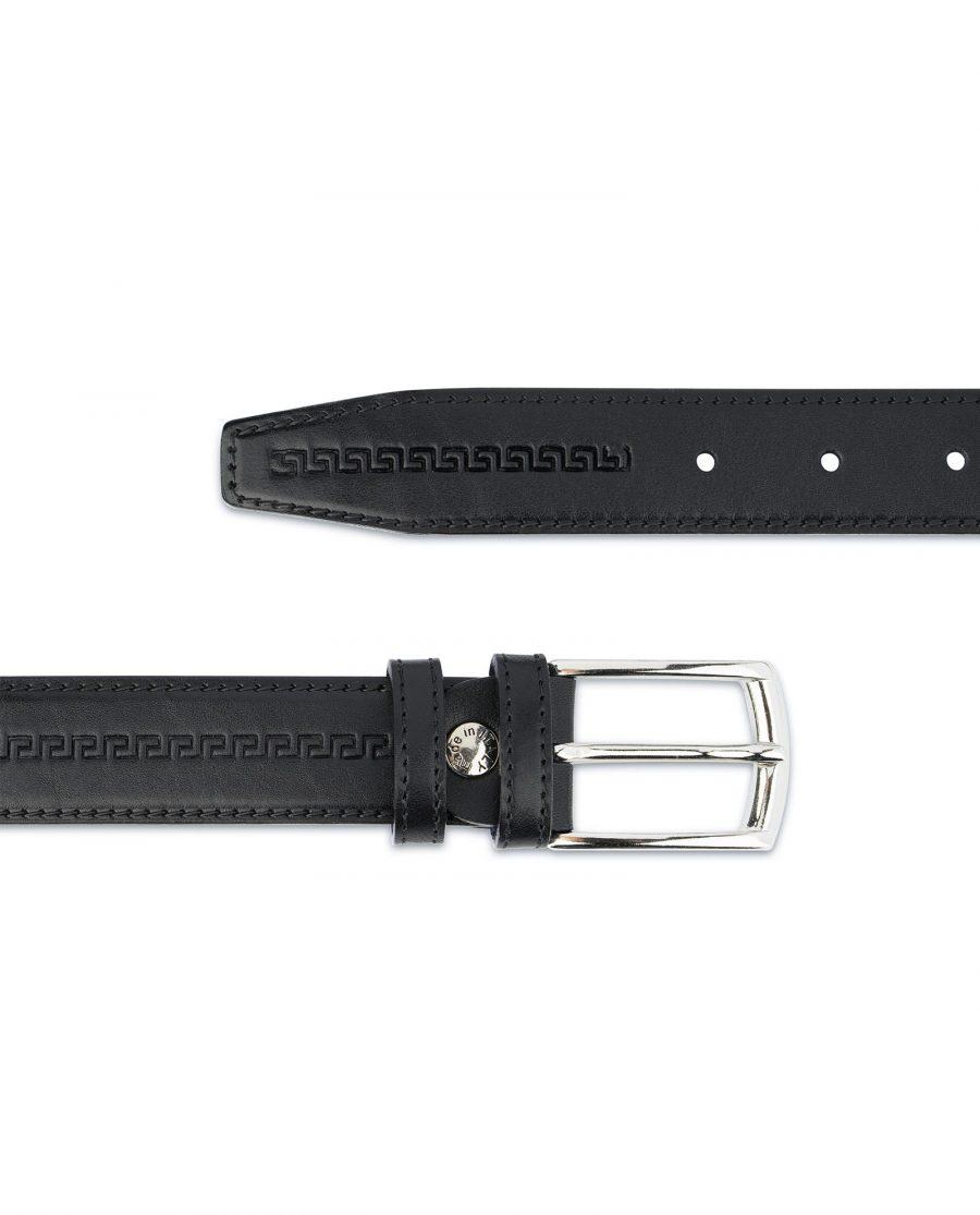 Mens Leather Belt Black Full Grain Embossed