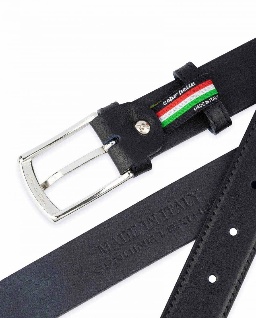 Mens Leather Belt Black Full Grain Italian Quality