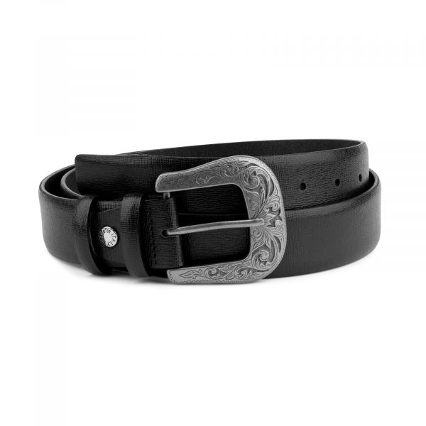 Mens Western Belt Black Saffiano Leather Capo Pelle