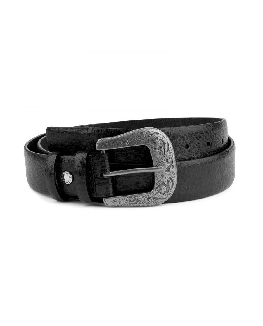 Mens Western Belt Black Saffiano Leather Capo Pelle