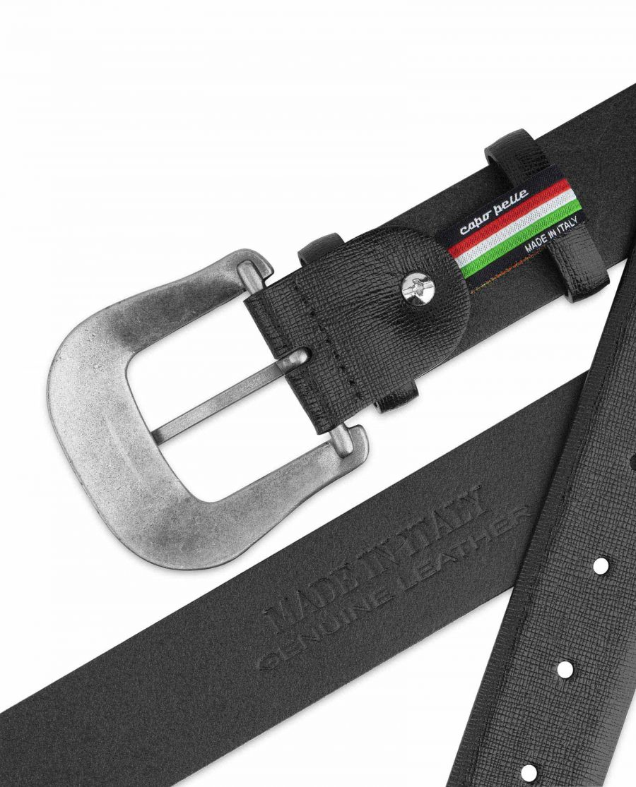 Mens Western Belt Black Saffiano Leather Made in Italy