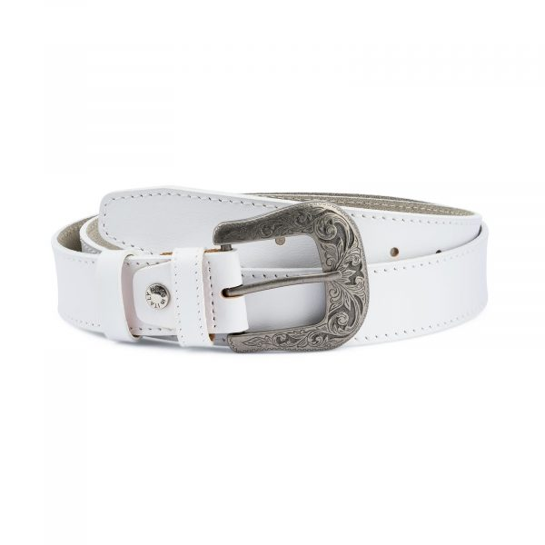 Mens White Western Belt Genuine Leather Capo Pelle
