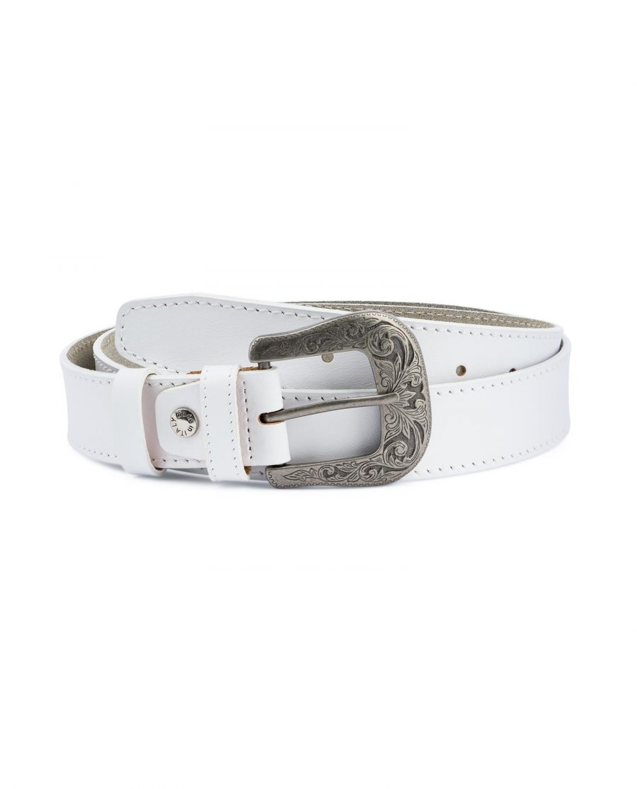 Mens White Western Belt Genuine Leather Capo Pelle