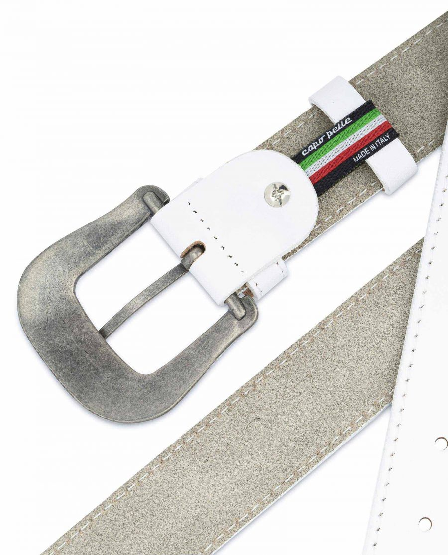 Mens White Western Belt Genuine Leather Made in Italy