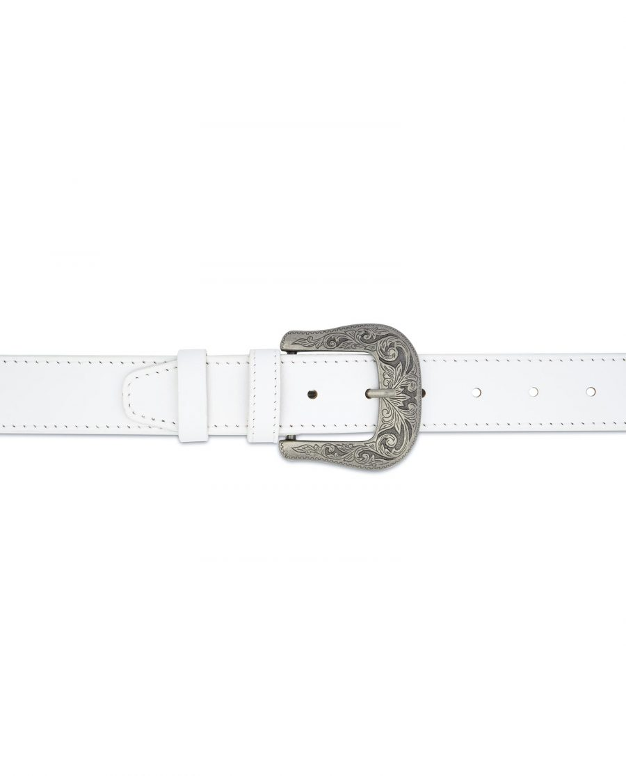 Mens White Western Belt Genuine Leather On jeans