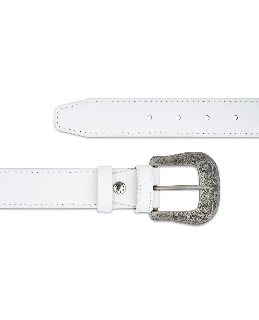 Mens White Western Belt Genuine Leather Silver antique buckle