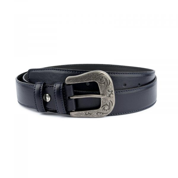Navy Blue Western Belt For Men Capo Pelle