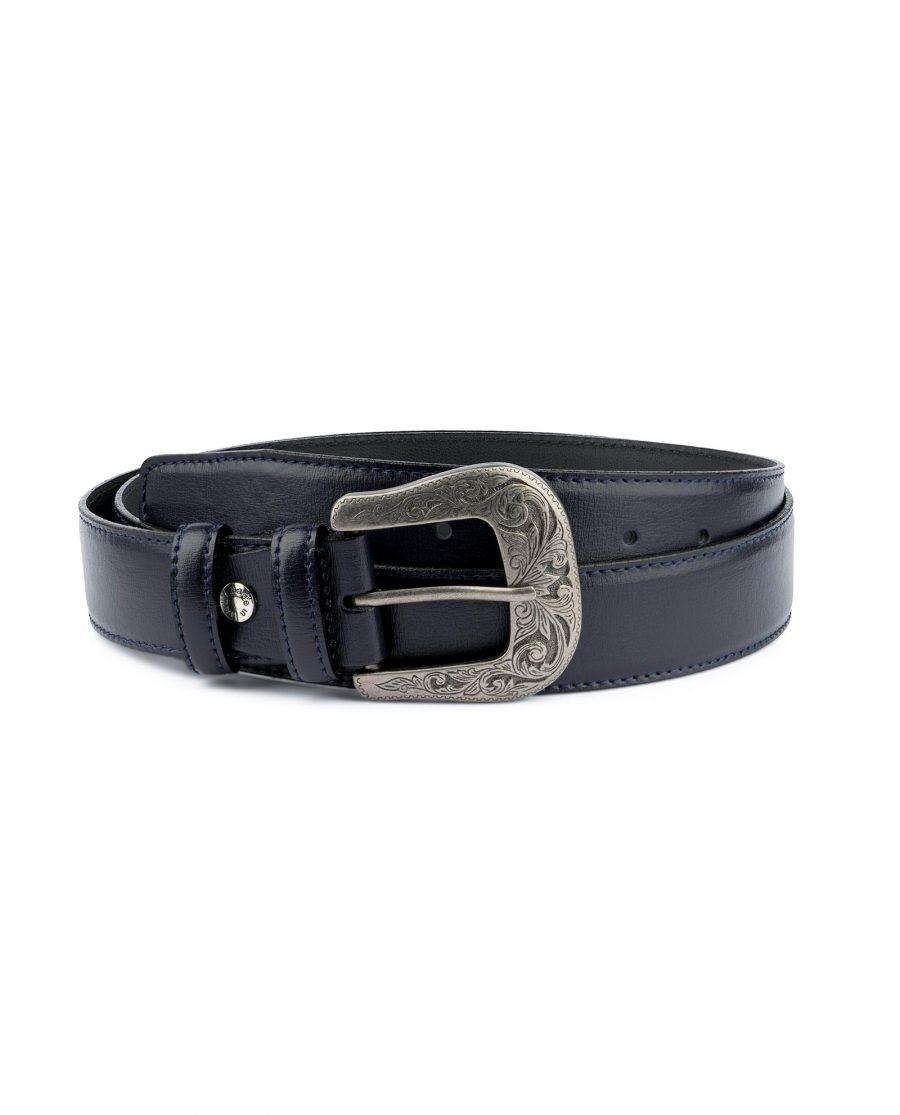 Navy Blue Western Belt For Men Capo Pelle