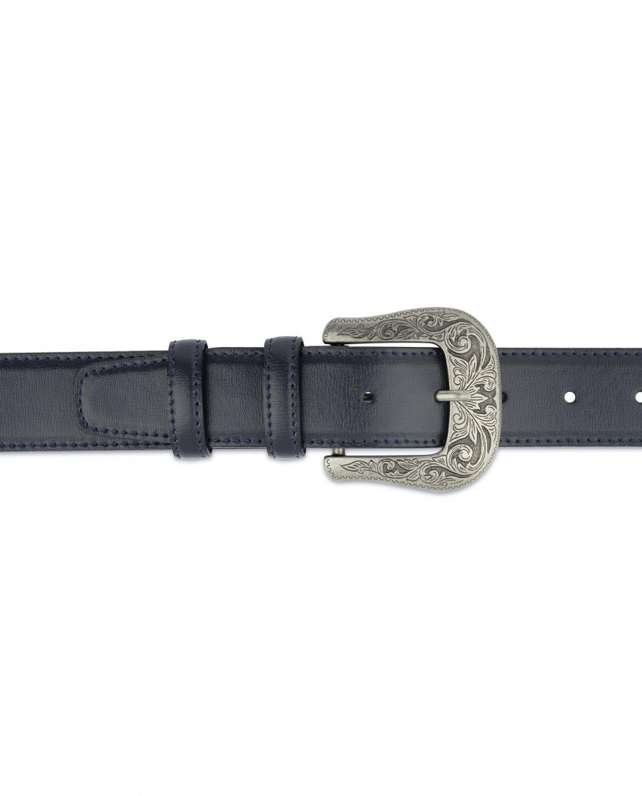 Navy Blue Western Belt For Men On jeans