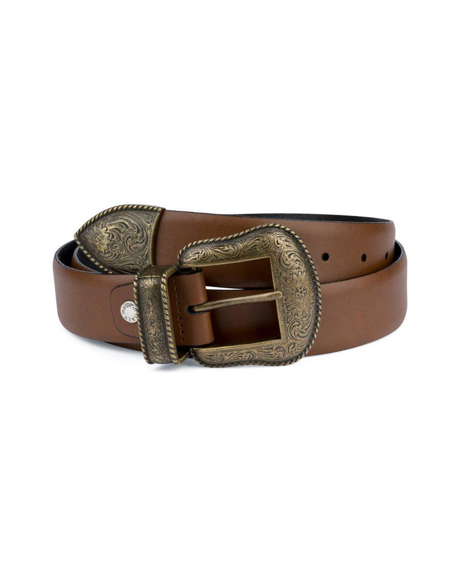 Tan Brown Leather Western Belt Bronze Buckle Capo Pelle