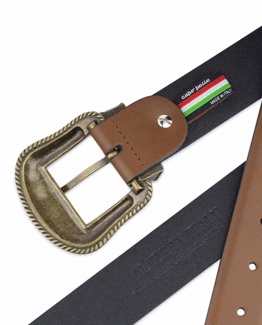 Tan Brown Leather Western Belt Bronze Buckle Genuine Calfskin
