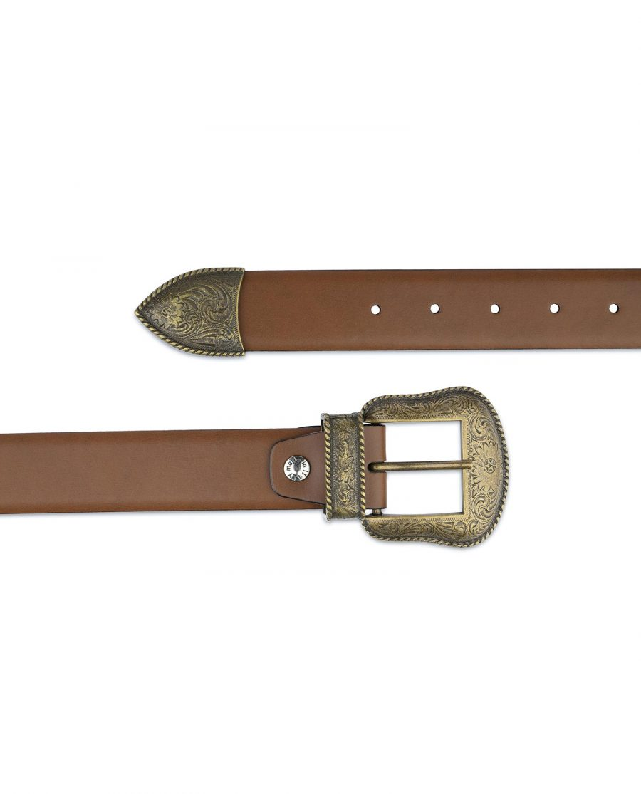 Tan Brown Leather Western Belt Bronze Buckle Made in Italy