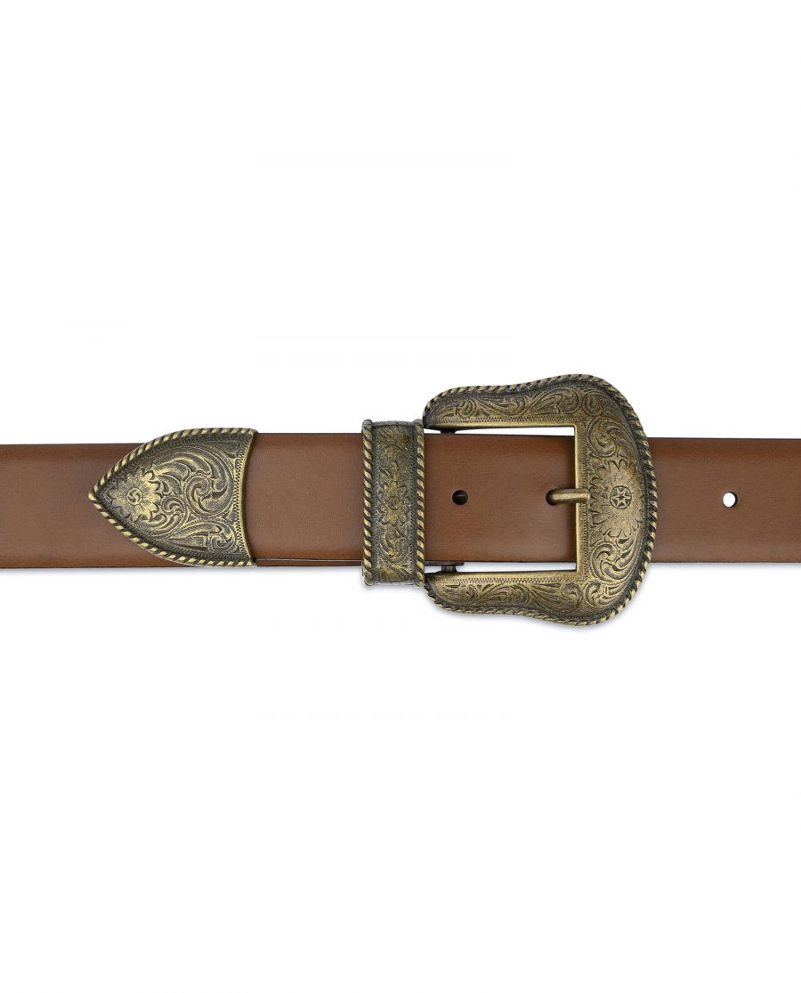 Tan Brown Leather Western Belt Bronze Buckle On jeans