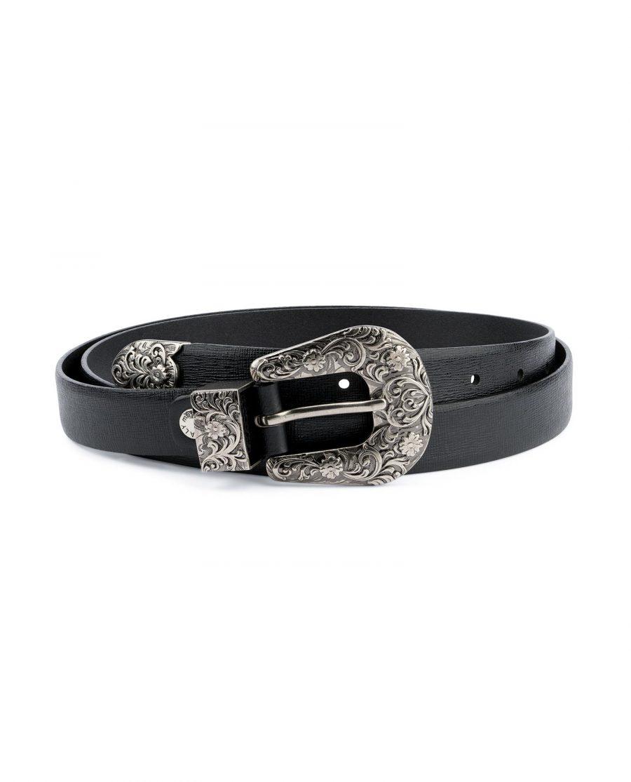 Western Belt For Women Black Saffiano Leather Capo Pelle