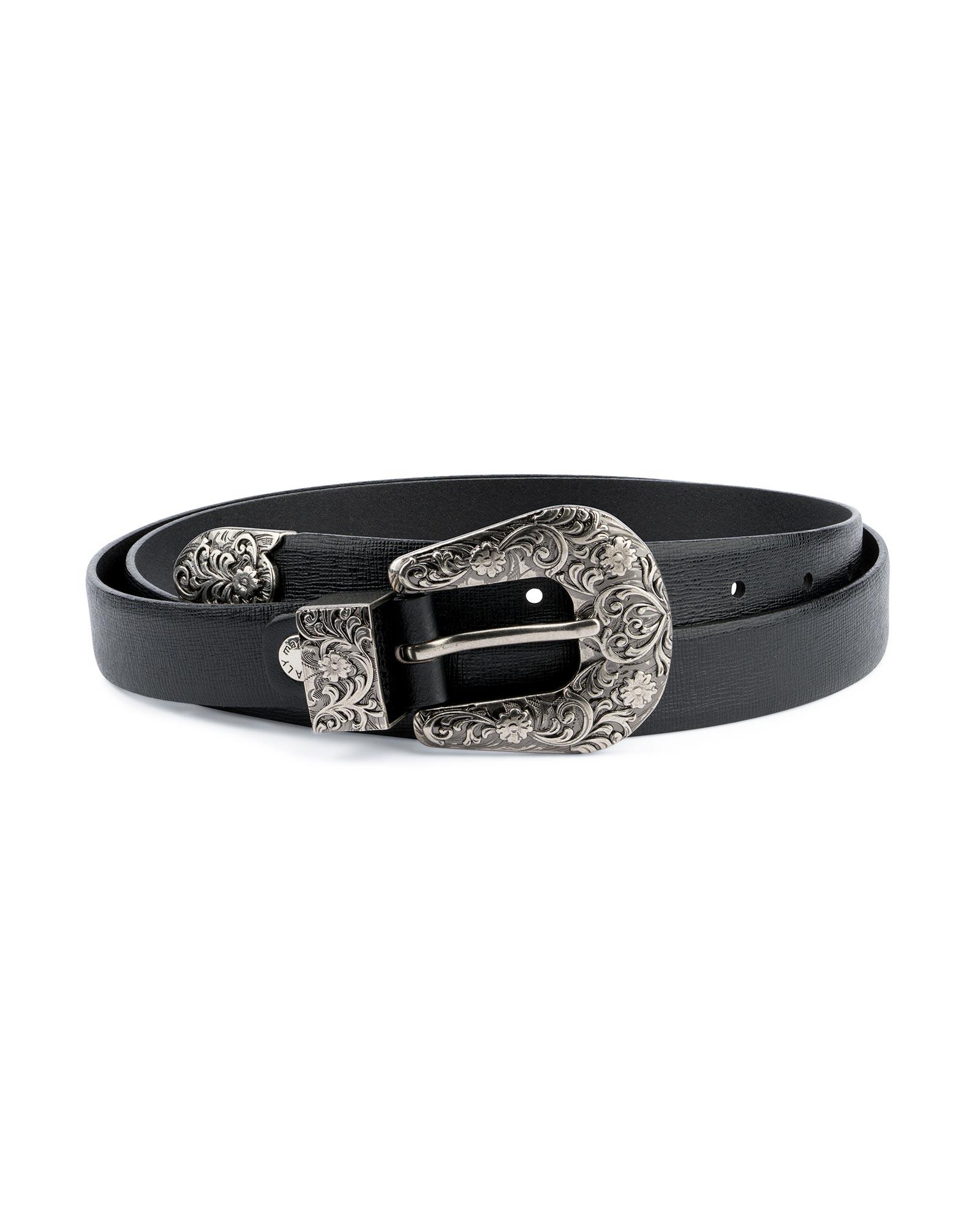 Buy Black Women's Belts For Dresses | Saffiano Leather | Capo Pelle