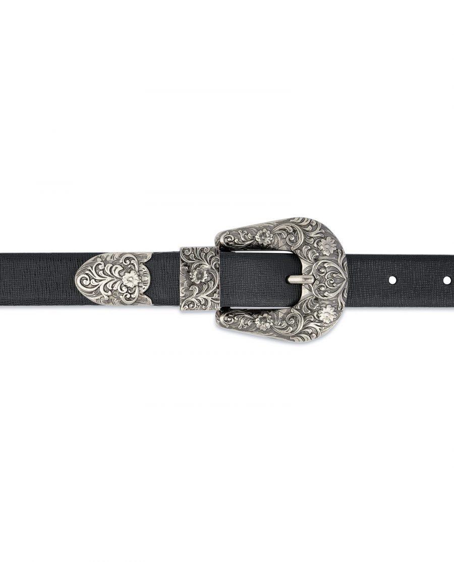 Western Belt For Women Black Saffiano Leather On jeans